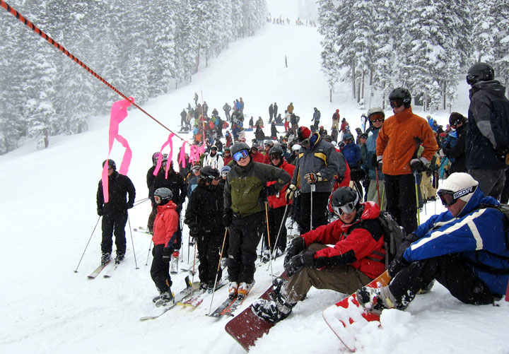 A crowd gathers while waiting for the rope to drop into Fox Trot during the opening day of The Outback area at Keystone, Colorado, December 7, 2007.