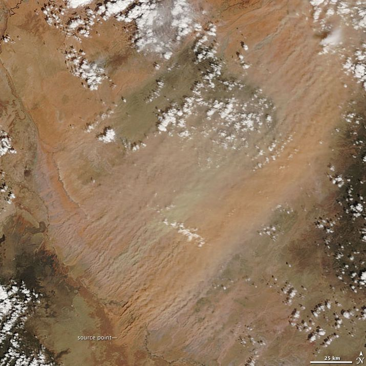 Dust storm over northeastern Arizona, April 3, 2009. (NASA image by Jeff Schmaltz, MODIS Rapid Response Team, Goddard Space Flight Center)