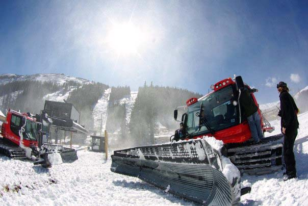 The view from the base as snowmaking operations continue at Loveland Ski Area in Coloradio on Tuesday, October 6, 2009.